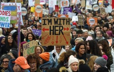 March for Women in London ahead of International Women's Day